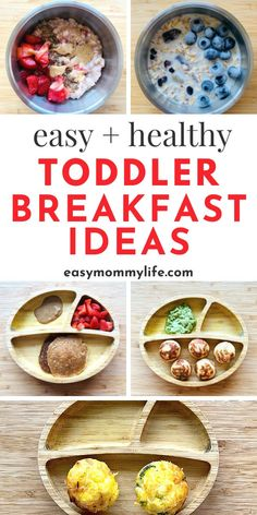 Fun and Healthy Toddler Breakfast Ideas for Picky eaters. Includes an easy breakfast muffin recipe, toddler pancakes recipe, healthy porridge recipe and ideas picky eaters will actually eat. Easy Toddler Snacks, Healthy Toddler Breakfast, Baby Breakfast, Healthy Toddler Meals, Easy Snacks, Kids Meals, Toddler Food, Baby Meals, Vegan Breakfast
