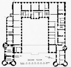 Royal Interiors, Part II Palace of Holyroodhouse Floor Plans (c. 1950):  The Second Floor: