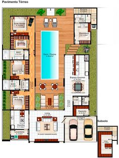 Pool House Plans, Sims House Plans, Courtyard House Plans, House Layout Plans, New House Plans, Dream House Plans, House Floor Design, Home Design Floor Plans, Home Building Design