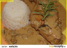 Králík s hlívovou omáčkou recept - TopRecepty.cz Thing 1, Mashed Potatoes, Food And Drink, Chicken, Meat, Ethnic Recipes, Foods, Cooking, Whipped Potatoes