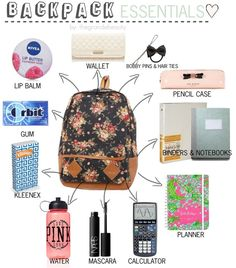 Ariana inspired backpack essentials. *Requested* Backpack Essentials: Wallet Bobby Pins Hair Ties Pencil case Binders Notebooks Planner Calculator Mascara Water Kleenex Gum Lipbalm