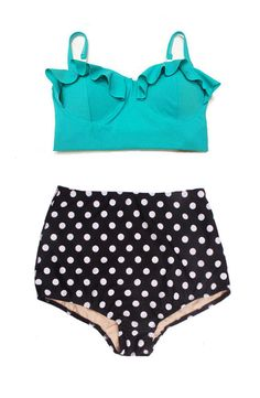 Mint Midkini Top and Polka dot dots High Waist by venderstore, $39.99 Not sure I could pull this off, but I love the look!