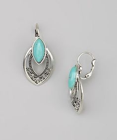 Look what I found on #zulily! Silver & Turquoise Marquis Stone Drop Earrings #zulilyfinds