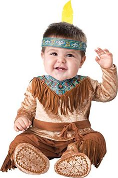 OFF or FREE SHIP -Sweet Dream Catcher Toddler Costume Months : A cute little Native American costume for your little one to wear! Headband with feather, jumpsuit with fringe details, snaps for easy diaper change and skid resistant feet. Fits toddler s Pocahontas Halloween Costume, Brave Costume, Baby Halloween Costumes For Boys, Toddler Costumes, Cute Costumes, Halloween Fancy Dress, Baby Costumes, Costume Ideas, Frozen Costume