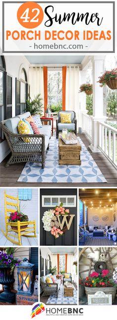 42 Best Summer Porch Decor Ideas and Designs for 2019 - Arredamento estivo Summer Porch Decor, Spring Home Decor, Rental Decorating, Porch Decorating, Decorating Ideas, Summer Decorating, Porch Ornaments, Home Beach, Outdoor Living