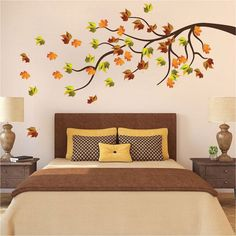 This beautiful Interior Floral Wall Decal Mural from Prime Decals is perfect to uplift any room! This beautiful flower mural sticker will be blooming year-round! Wall Murals Bedroom, Wall Mural Decals, Tree Wall Murals, Bedroom Wall Designs, Flower Wall Decals, Tree Decals, Tree On Wall, Tree Design On Wall, Falling Walls