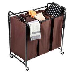 4. MaidMAX 3-Bag Heavy Duty Triple Laundry Hamper