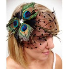 NEW Peacock Feather Veil Hair Clip $14.99