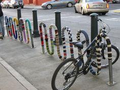 Yarn bomb bike stand