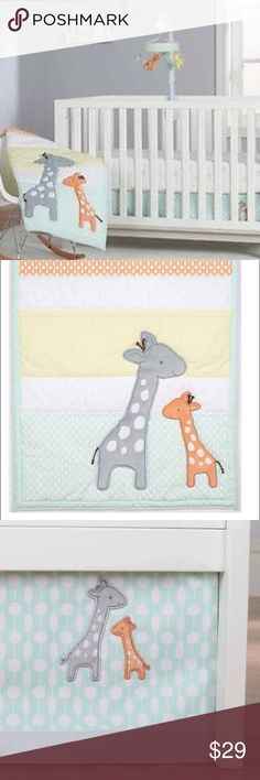 """Giraffe Crib/toddler bed set 3-pieces Carter's NEW Your little one will sleep in comfort surrounded by a lovable family of gentle giraffes in neutral grey, orange, yellow and green. The """"Child of Mine"""" by Carter's Giraffe Family three-Piece Bedding Set comes with a comforter, fitted crib sheet and dust ruffle. Size: Crib/Toddler Bed. NEW 3-piece nursery set, still in its plastic carry bag.  Makes a great  gift!  Guaranteed New! Carter's Other"""