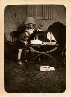 Antique Vintage Photograph Blowing Out Candles on Birthday Cake Sailboat Retro