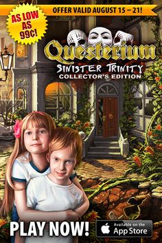 Questerium: Sinister Trinity, Collector's Edition SALE! Can you imagine two small children being left all alone in an abandoned town? Starting today through August 21st, get the hair-raising hidden object game Questerium: Sinister Trinity, Collector's Edition for as low as 99¢ on iPhone and $1.99 on iPad! Travel to a town infested by mutant plants and animals and save these siblings from imminent death! Learn more: http://www.g5e.com/sale