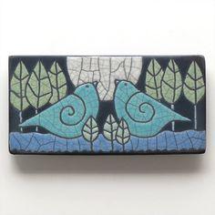 Birds,Ceramic tile, handmade, wall art, home decor 3x6 raku fired art tile