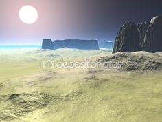 Desert with mountains on the shore — Stock Photo © kaselmeyk #81740588