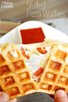 Stuffed Pizza Waffles:  wait...WHAT?  Just pizza dough, mozzarella and pepperoni cooked in a waffle iron.  Let your kids to make themselves lunch this summer!