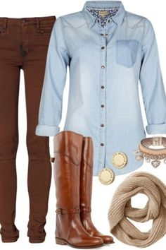 Chambray and brown boots.
