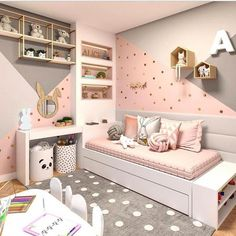 Want to Present the Greatest Girl& Bedroom for Your Daughter? The girls bedroom is her castle. Now getting time to talk a strategy to come up with the wonderful room theme. Here are the girl's bedroom ideas for you. Bedroom Wall Colors, Bedroom Themes, Girls Bedroom Colors, Bedroom Styles, Girl Bedroom Designs, Design Bedroom, Wall Design, Girls Room Design, Nursery Design