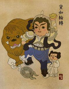 Chewbacca, Princesse Leia et Han Solo by Tik Ka 迪嘉