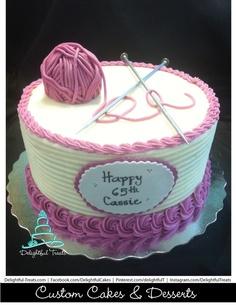 65th Birthday Knit Cake with yarn Delightful Treats   #KnitCake #KnittingCake #KnitBirthdayCake #YarnCake #65thBirthdayCake #OrlandoCakes #CustomBirtdayCake