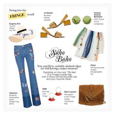 """SOHO BOHO"" by paint-it-black ❤ liked on Polyvore featuring Yves Saint Laurent, Jil Sander, Eugenia Kim, Chloé, Valentino, Victoria, Victoria Beckham, fringe, boho, 70s and coachella"