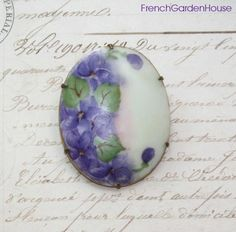 Antique Victorian Hand Painted Limoges Porcelain Pin Brooch Violets