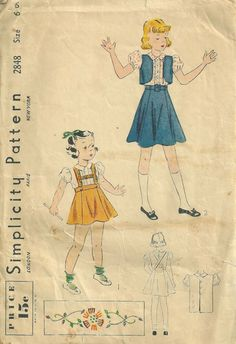 Simplicity 2848 1930s Childs Suspender Skirt  Blouse and weskit vingage sewing pattern by mbchills