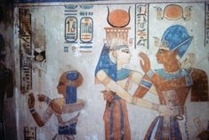 In an alcove in Hatshepsut's temple is this picture of Hatshepsut worshiping the cow goddess Hathor. On the right is Hatshepsut's daughter. This is the only picture of Hatshepsut that was not demolished by her successors.