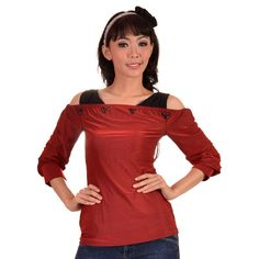 """Red and black layered style long sleeved knit top. """"Off shoulder"""" style with cut off sleeves. Black bead accents at neck."""