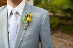 Jewish Wedding - Yellow Boutonniere from A Brit & A Blonde - mazelmoments.com