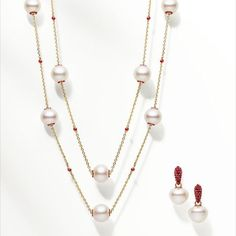Touchstone necklace and earrings with rubies