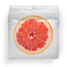 'Grapefruit Slice' Duvet Cover by houseofenigma Grapefruit, Duvet Covers, Bedding, Blanket, Pillows, Art, Art Background, Kunst, Throw Pillow