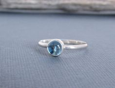 Swiss Blue Topaz Sterling Silver Ring- Round 5mm Blue Topaz Gemstone - Stacking Ring - December Birthstone - Made to Order