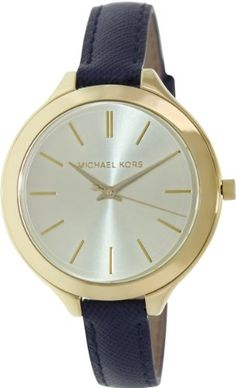 Michael Kors Watches : Michael Kors MidSize Runway GoldTone Dial Blue Leather Ladies Watch - More info could be found at the image url. - Watches Topia - Watches: Best Lists, Trends & the Latest Styles Micheal Kors Watch Women, Michael Kors Watch, Michael Kors Fashion, Thing 1, Gold Leather, Quartz Watch, Fashion Watches, Watch Bands, Accessories