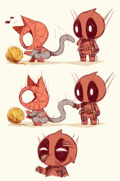 Ahahahahha... I'm so sorry Deadpool...but that was hilarious haha you got scratched by Neko spidey. :D
