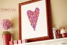 Button Heart Valentine Art Craft for Valentine's Day decorations | KristenDuke.com
