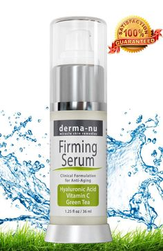 Hyaluronic Acid Serum By Derma-nu - Advanced Clinically Proven Formulation - Best Organic Anti Aging Facial Treatment for the Skin - The Most Effective Skincare for Wrinkles and Firming - Pure HA Serum Enriched with Vitamin C + Vitamin E + Green Tea - Feel It Firming and Toning Your Face Instantly - It Is Truly a Facelift in a Bottle - Hydrate & Plump Dull Skin Filling Fine Lines & Wrinkles - 100% Satisfaction Guaranteed - 1.25oz Bottle