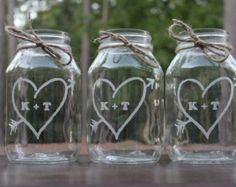 4 Quart Mason Jar,  Wedding Center Piece, Engraved, mason jars, 4 mason jars