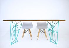 The Yoshi Dining Table: Modern Steel Rod Dining por moderncre8ve