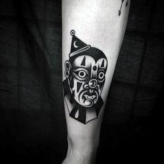 75 Clown Tattoos For Men - Comic Performer Design Ideas Small Tattoos, Tattoos For Guys, Tattoos For Women, Get A Tattoo, Arm Tattoo, White Lotus Tattoo, Evil Clown Tattoos, Clown Images, Clover Tattoos