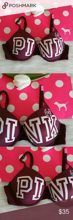 c059c25abc003 LAST NEW PINK VICTORIA SECRET PUSH UP BRA SET Brand new pink victoria  secret push up bra . Size Available 34B Panty size S or M New never worn.