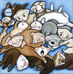 Original Ferret Folk Art Painting - Ferrets Ferrets Ferrets - Shelly Mundel #FerretArt