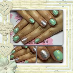 Lovely green gel polish nails with daisies hand painted, dots and silver ring finger