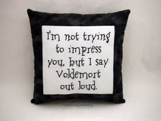 I'm not trying to impress you, but.. it is pretty impressive - Harry Potter Cross Stitch Pillow Black And Gray  by NeedleNosey, $25.00
