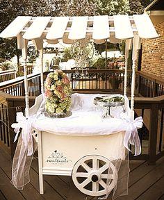Beautiful setup for a baby shower. Sweetheart Sugar Cart. Jr. Cart