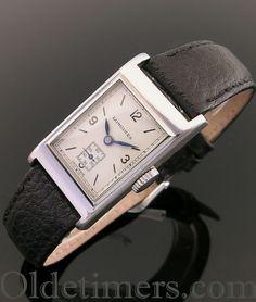 A rectangular steel vintage Longines watch, 1930s.