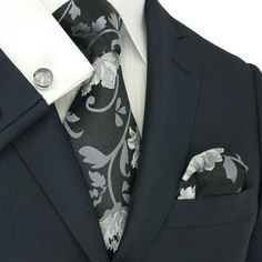 Landisun Fashion 87H Silver Black Floral Pattern Mens 100% Silk Neck Tie Set: Tie+Hanky+Cufflinks
