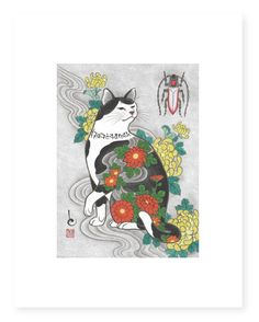 Kazuaki Horitomo Kitamura combines his love of art with his love of cats. In the early his wife brought home a stray cat, and he fell in love with her. Art And Illustration, Japanese Artwork, Japanese Prints, Frida Art, Japanese Cat, Japanese American, Art Asiatique, Japan Art, Cat Tattoo