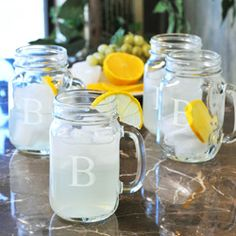 "Custom Engraved Mason Drinking Jars (Set of 4) $28.99 | ""G"""