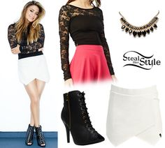 In this shot she wore a Lace & Solid Crop Top ($21.90), a Solid Foldover Skirt ($18.90), the 3 Row Marquise Necklace ($12.50) and a pair of Peep-Toe Lace-Up Bootie ($36.90) all from Wet Seal.