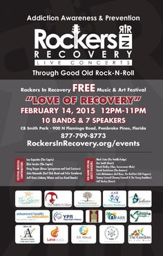 TO ALL TREATMENT PROGRAMS and SOBER LIVING HOUSES, FEBRUARY 14- The Free Sober & Clean Music and Art Festival - you & all of your clients are invited from 12PM -11PM to join us @ CB Smith Park 900 N Flamingo Road, Pembroke Pines, Florida, 3302